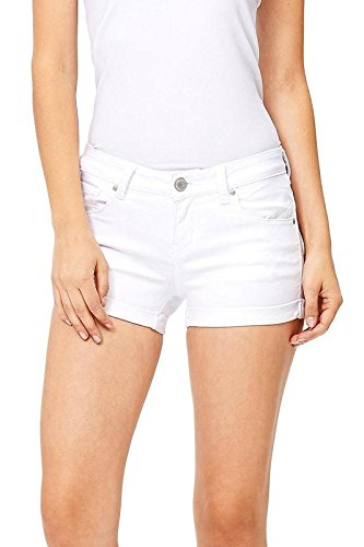 Wax Women's Juniors Perfect Fit Mid-Rise Denim Shorts (L, White)