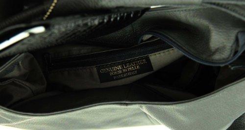 OBC Made in Italy Damen Echt Leder Shopper Tasche Ledertasche Handtasche Henkeltasche Schultertasche (Schlamm)