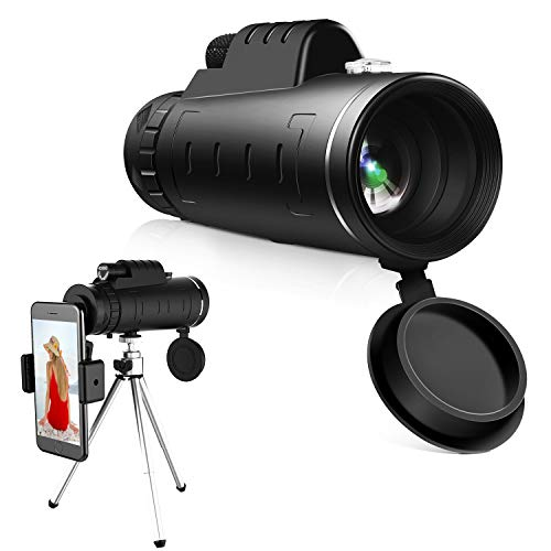 High Power Hd Monocular Telescope - 4060 BAK4 Prism Monocular Scope| Waterproof and Anti-Fog with Retractable Eyepiece and Fully Versatile Coated Optical Glass Lens + Phone Clip+Tripod