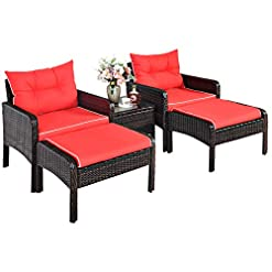Garden and Outdoor Tangkula Wicker Furniture Set 5 Pieces PE Wicker Rattan Outdoor All Weather Cushioned Sofas and Ottoman Set Lawn Pool…