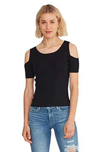 State Cashmere Women's Slim Fit Casual Cutout Cold Shoulder Top Black