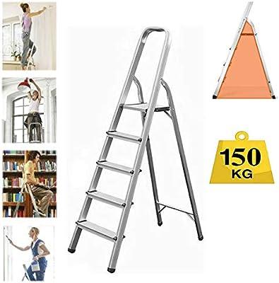 Escalera plegable de 5 peldaños, de aluminio resistente, compacta, portátil, con marco de seguridad antideslizante, ideal para el hogar/cocina/garaje, carga máxima de 150 kg: Amazon.es: Bricolaje y herramientas