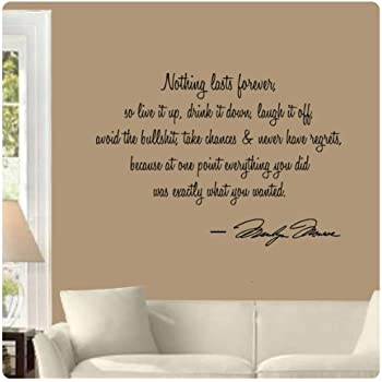 Marilyn Monroe Wall Decal Decor Quote I Believe Things Happen - home decor quotes on wall