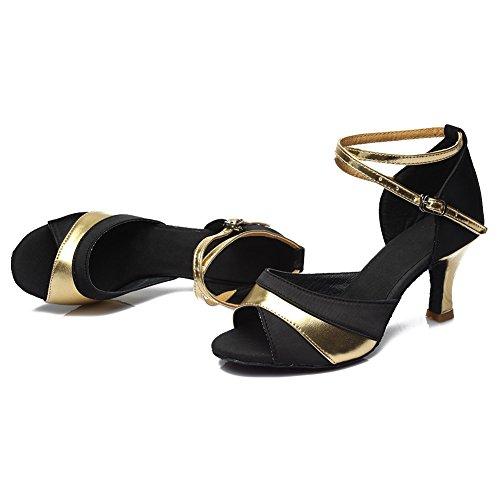Latin Gold Damen Modell 806 7cm Satin D7 HROYL Tanzschuhe Ballsaal Schuhe Dance OpEqnTwxP