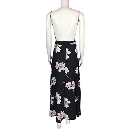 Vovotrade flor negro Boho flor largo maxi Vestido de fiesta de verano de baño de sol vestido para las mujeres Chica Señora