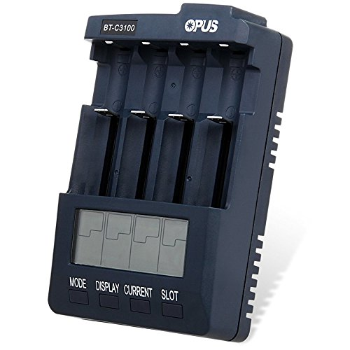 Lanlan OPUS BT-C3100 LCD Panel Display Ni-MH AA & AAA Ni-Cd Li-ion Battery Charger with 4 Individual Slots 4 Modes(Charge Discharge Refresh and Test) and Over-heating Protector + Ameraican Plug Adapter XJSJDZ-0707-LW10