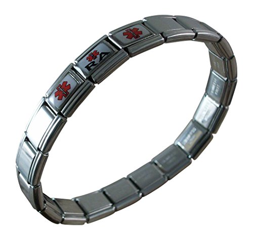 Gadow Jewelry Rheumatoid Arthritis RA Medical ID Alert Italian Charm Bracelet
