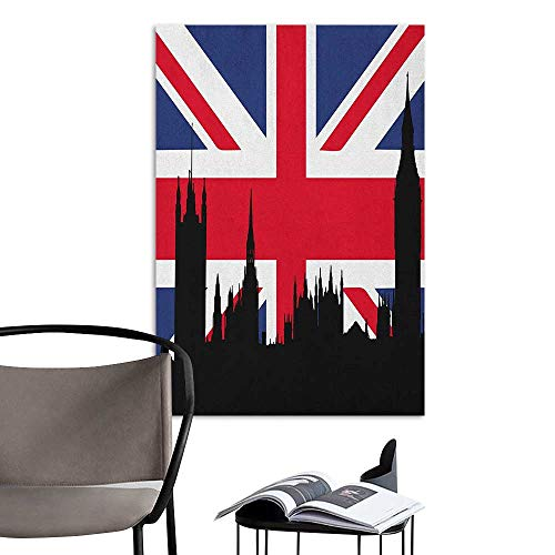 Jaydevn Wall Mural Wallpaper Stickers Union Jack Houses of The Parliament Silhouette on UK Flag Historic Urban Skyline Royal Blue Black Red Girls Bathroom W16 x H20