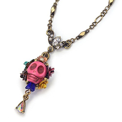 Pink Sugar Skull Pendant Necklace - Day of the Dead Mexican Jewelry