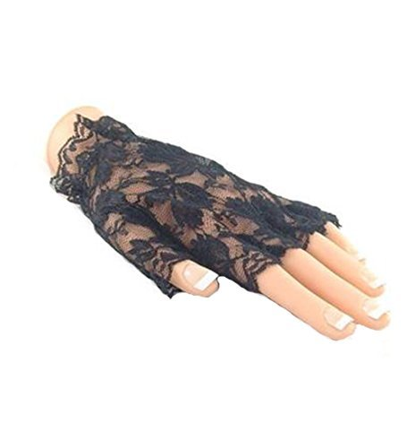 Black Lace Gloves Halloween Fingerless 80S Madonna Goth Short Ladies Glove by (1980s Mesh)
