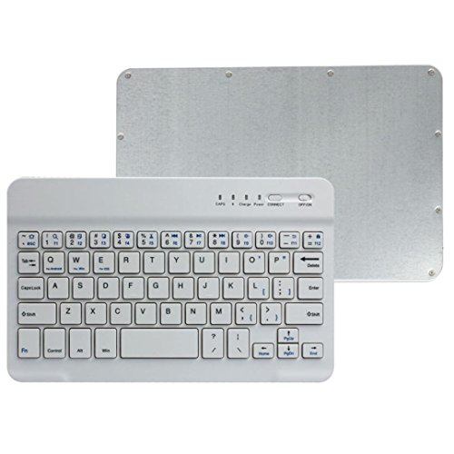 bonjouree Ultra Slim Aluminium Wireless Bluetooth Keyboard for iOS/Android/PC (White)