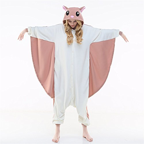 [Newcosplay Adult Jumpsuit Anime Unisex Pyjamas Halloween Costume (L, Flying Squirrel)] (Squirrel Halloween Costume)
