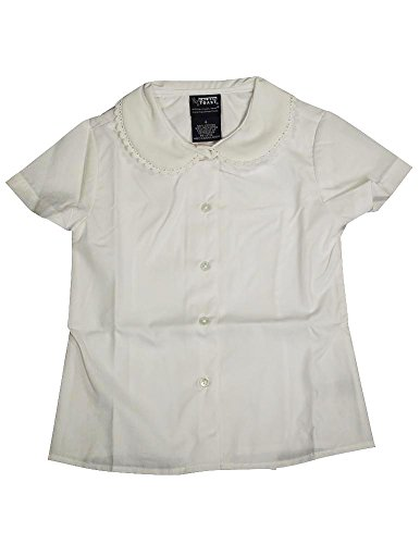 French Toast - Big Girls' Short Sleeve Peter Pan Lace Trim Blouse, White 35116-12