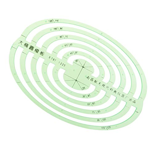 SM SunniMix 1 Pc Plastic Green Measuring Templates Geometric Rulers for Office and School, Building formwork, Drawings templates - Large Oval by SM SunniMix (Image #6)