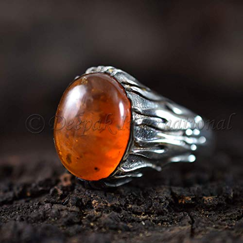 (Baltic Amber Silver Ring Amber Gemstone Oval Cab Ring Jewelry Baltic Amber Unisex Party Cocktail Gift Ring Men's Artisan Made Art Deco Ring)