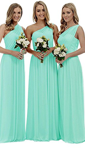 Fitty Lell Women's Chiffon One Shoulder Bridesmaid Gown Long Prom Evening Dress(US8,Tiffany Blue)
