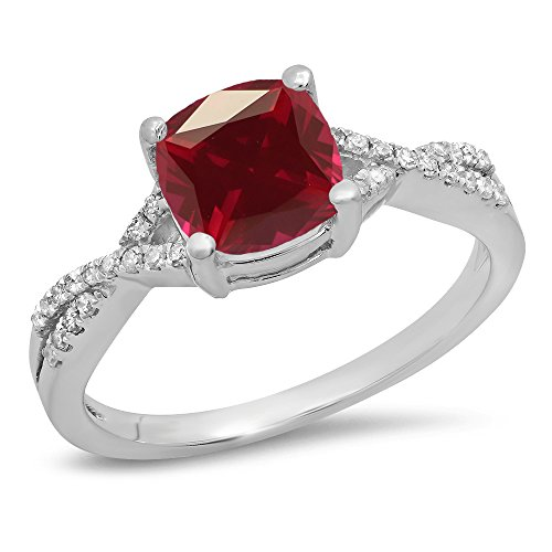 Dazzlingrock Collection 14K 7 MM Cushion Ruby & Round Diamond Ladies Swirl Engagement Ring, White Gold, Size 8.5 ()