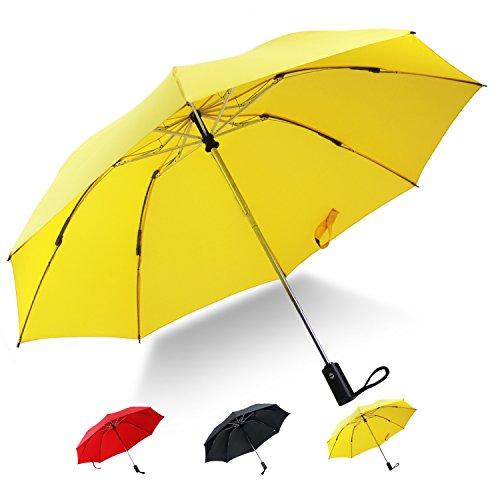 YUSOO Automatic Compact Travel Umbrella with Reverse,210T Auto Open Close Folding Strong Windproof UV Umbrella For Women Men,Yellow by YUSOO (Image #2)
