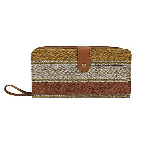 IDAILU Wallet for Women Clutch Boho Fabric PU Leather Cellphone Card Money Organizer Ladies Handbags (Orange striped)