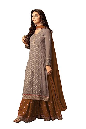 (ziya Indian/Pakistani Ethnic wear Georgette Plaazo Salwar Kameez (Mustard Yellow,)