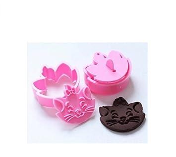 Anyana 2pcs Set gato plástico cortador de galletas molde herramienta de cocina herramientas para pasta de azúcar molde para galletas de repostería: ...
