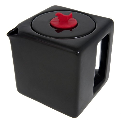 Make My Day Tea Cube Ceramic Teapot with Infuser, Black with Red Accent