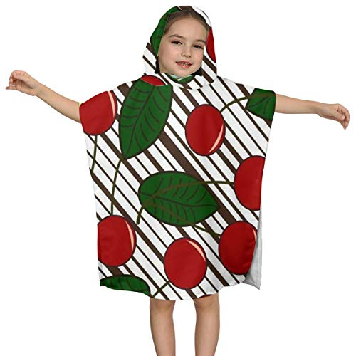 ZHOUSUN Extra Large Super Soft and Absorbent Hooded Poncho Bath Towel,Black and White Stripes Cherry Bathrobe Cloak for Baby