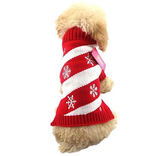 Christmas Dog Clothes, AMA(TM) Pet Puppy Doggie Snowflake Winter Knitted Warm Sweater Jacket Coat Hoodie Dog Costume Apparel (M, Red) (Amo Snow Jacket)