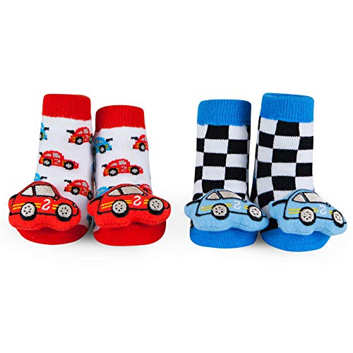 WADDLE Baby Boys Race Car Rattle Socks Red Blue and White Newborn 0-12 Months Gift Box - Race Theme Boy Car Baby