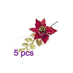 Mokylor Christmas Flowers Glitter Artificial Xmas Tree Ornament for Home Party Festive Garden Wedding Decoration 82