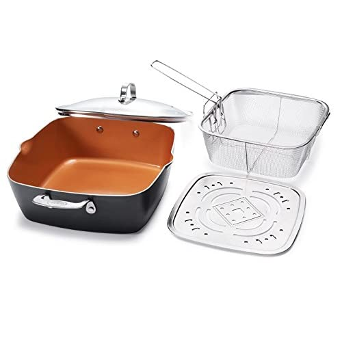 "Gotham Steel XL 11"" Copper Deep Square All in One 6 Qt Casserole Chef's Pan- 4 Piece Set"