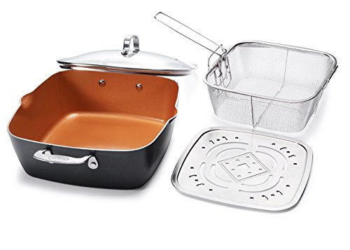 "Gotham Steel 1492 XL 11"" Copper Deep Square All in One 6 Qt Casserole Chef's Pan- 4 Piece Set"
