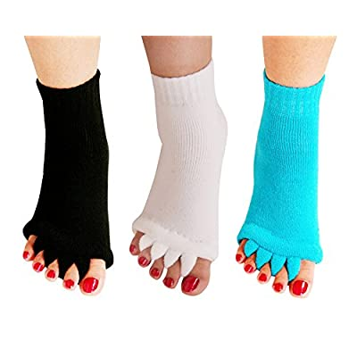 Yoga Sports GYM Five Toe Separator Socks Alignment Pain Health Massage Socks, Prevent Foot Cramps, One Pair,3Pairs-White/Black/Sky Blue: Clothing