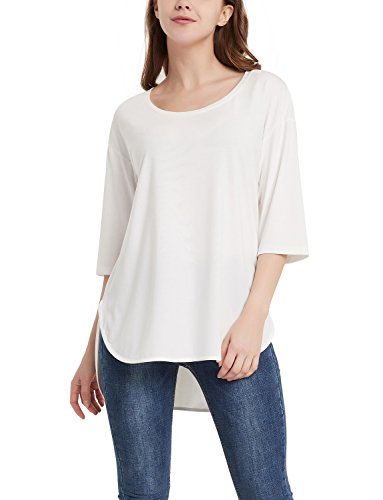 (Perfashion Elbow Sleeve Drop Shoulder Blouse Scoop Neck Tee Shirt for Women)