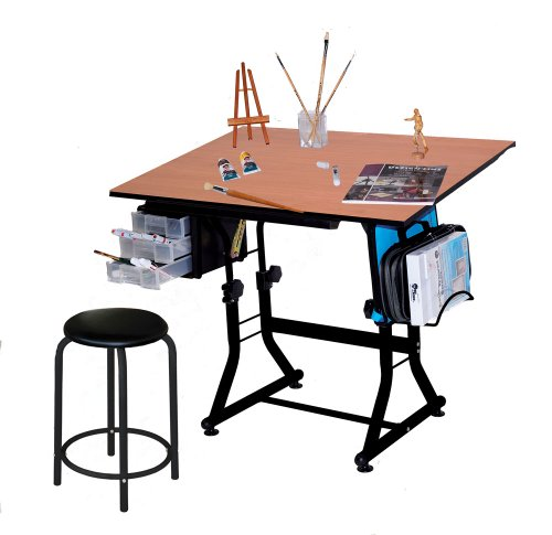 Martin Ashley Art-Hobby Table with Stool, Black with Cherry Top, 23.5'X35.5' Size Surface