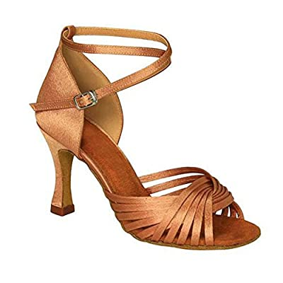 KAI-ROAD Ballroom Dance Shoes Women 3 inch Flared Heel Latin Dress Shoes Salsa Wedding Shoes, Brown