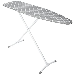 HOMZ Contour Steel Top Ironing Board, Extra Stable Legs, Grey U0026 White  Filigree Cover