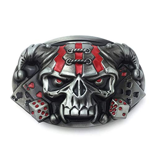 XGALA Mens Cool Native American Clown Skull Poker Dice Belt Buckle