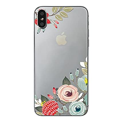Iphone X Case Iphone Xs Case Blingy S Nice Floral Style Transparent Clear Soft Tpu Protective Rubber Case For Iphone X And Iphone Xs Flower Outline