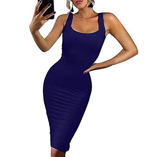 WANQUIY Women's Dresses Women Ladies Bodycon Sleeveless Sling Pencil Knee Length Club Tank Cocktail Party Dress Dark ()