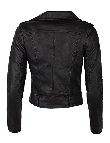 veste femme Noir biker blouson Fraternel simili cuir PwWdq08v