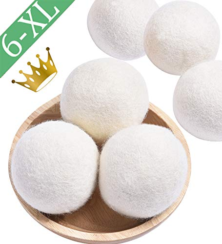 Wool Dryer Balls Organic, 6 Pack XL Natural Fabric Softener 100% New Zealand Wool, Chemical Free Eco Wool Dryer Balls Laundry, Handmade Reusable Balls Reduce Wrinkles & Shorten Drying Time