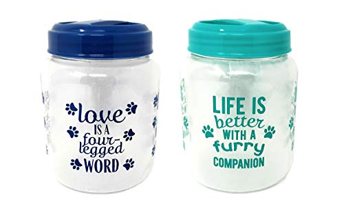 (Greenbrier Blue & Teal Dog Treat Containers )
