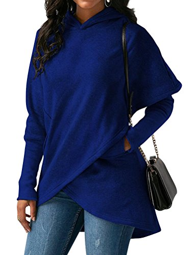 ZXH Women Solid Color Long Sleeve Asymmetric Hem Hoodies Sweatshirt with Pocket