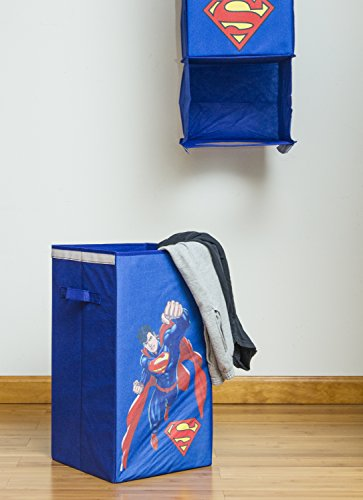 Modern Littles Superman Closet Hanging Organizer – 2 Storage Compartments, 1 Removable Laundry Bin – 10.5 Inches x 10.5 Inches x 52.5 Inches at Gotham City Store