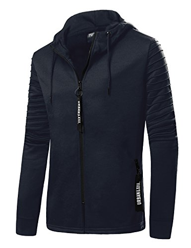 [Winter Warm Hoodie with Zipper Hip Hop Muscle Men Hoodie Pullover Jacket] (Winter Warm Zipper Closure)