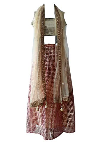Indian Sequins Lengha Choli Bollywood Indian Party Wear Ethnic Chaniya Choli with Dupatta Fully sitched Blouse Golden