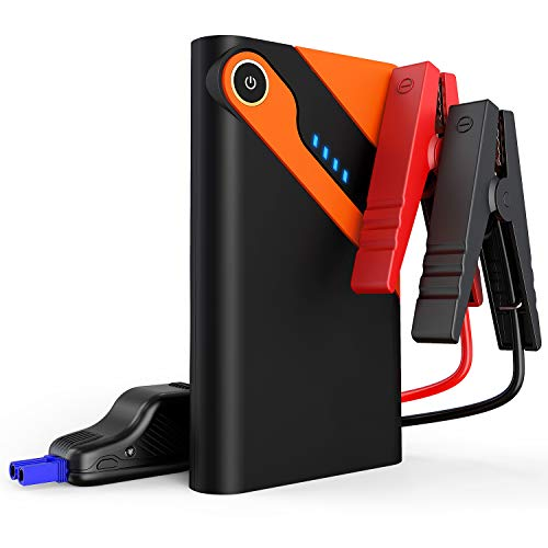 Car Jump Starter Auto Battery Charger and 8000mAh External Battery Charger Car Jumper for 12V Automotive, Motorcycle, Tractor, Boat, Phone with Clamps, LED Flashlight, 300A Peak 2.5L Gas Max