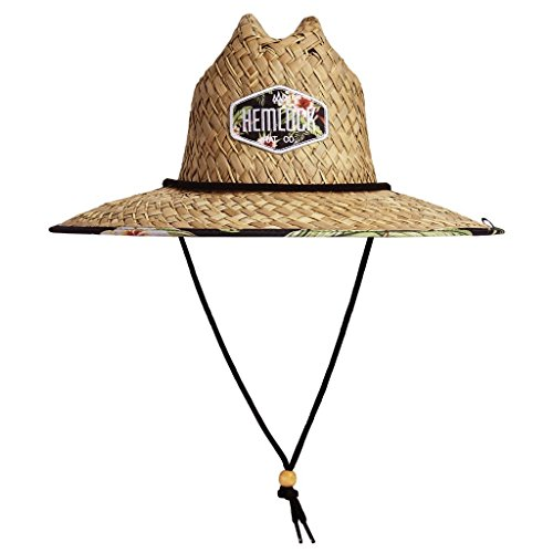 Hemlock Hat Maui Wowi Black Tropical Flower Straw Hat With Adjustable Drawstring   One Size Fits Most