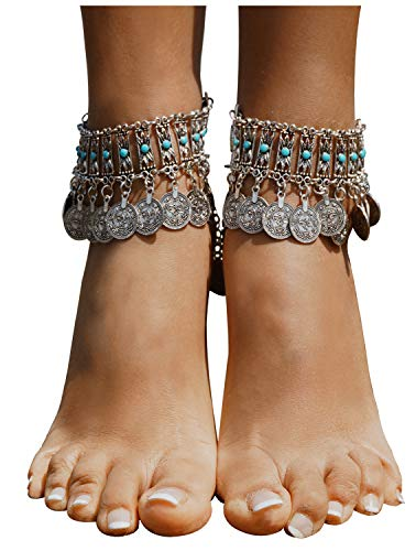Bienvenu Vintage Style Coin Tassels Beach Ankle Chain Barefoot Sandal Beach Foot Jewelry,Silver_Style 5 ()